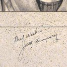 Jack Dempsey 1935 Autograph on Pen and Ink Drawing Heavyweight Boxing Champ