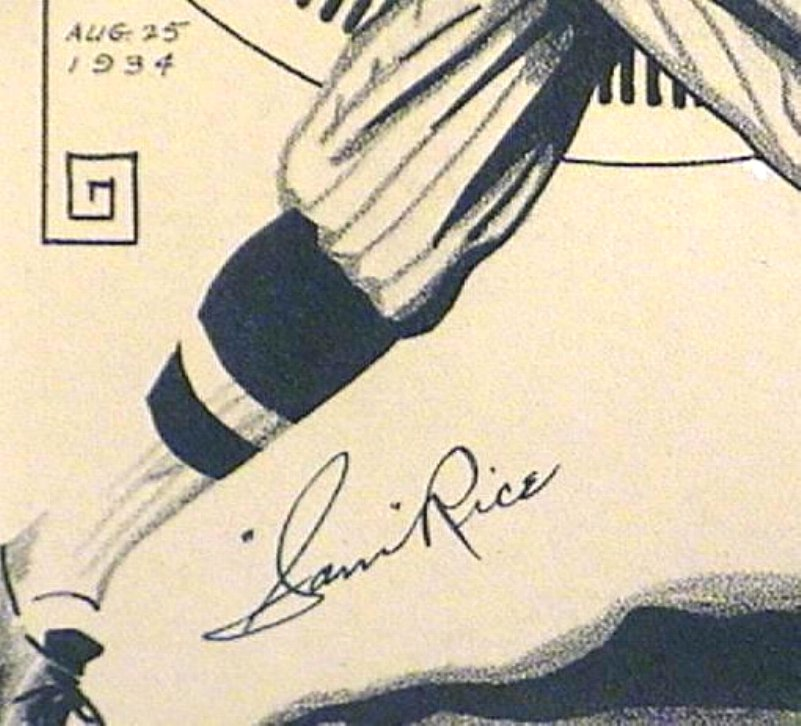 Sam Rice 1934 Autograph on Pen & Ink Drawing Baseball Old Timer