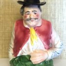 Porcelain Figural Decanter Peasant Man with Hat Stopper and Mustache