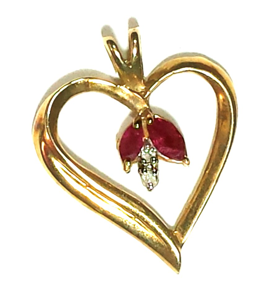 Genuine Ruby and Diamond Heart Shaped Pendant in 10 Kt Gold