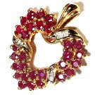 Heart Pendant with Diamonds and Two Rows of Rubies 10KT Gold