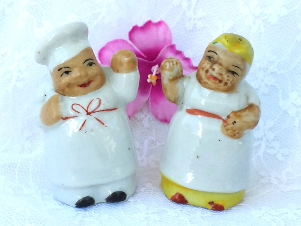 Mini Mammy and Chef Salt & Pepper Shakers Black Americana FREE Ship in U.S.