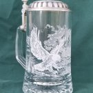 Glass Beer Stein with Embossed Eagles In Flight Made in Italy
