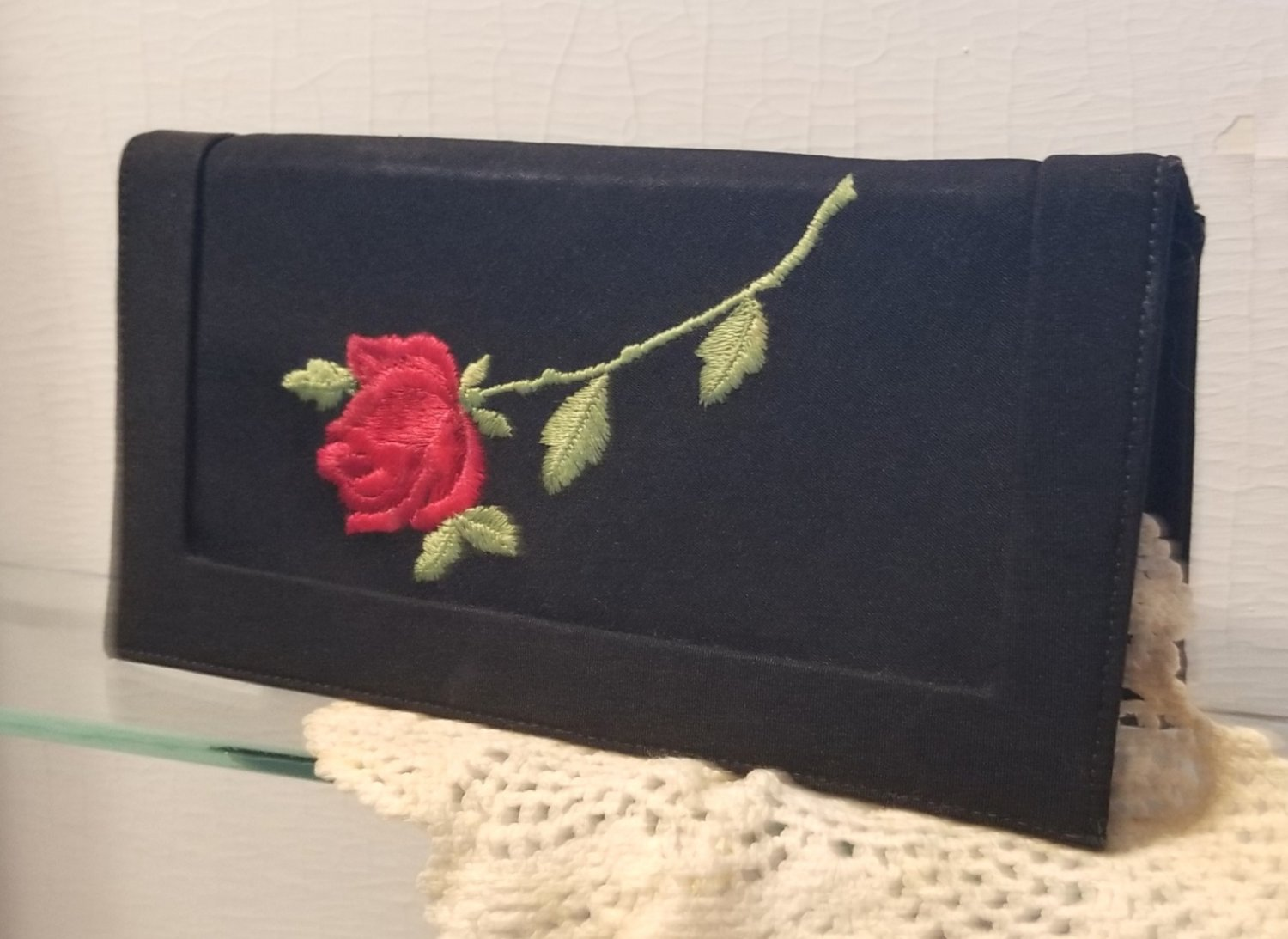 La Marquise Black Evening Clutch with Red Rose Vintage Purse