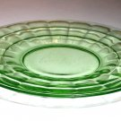 Block Optic Green Saucer(s) Depression Glass by Anchor Hocking Ca. 1930 Ten Available