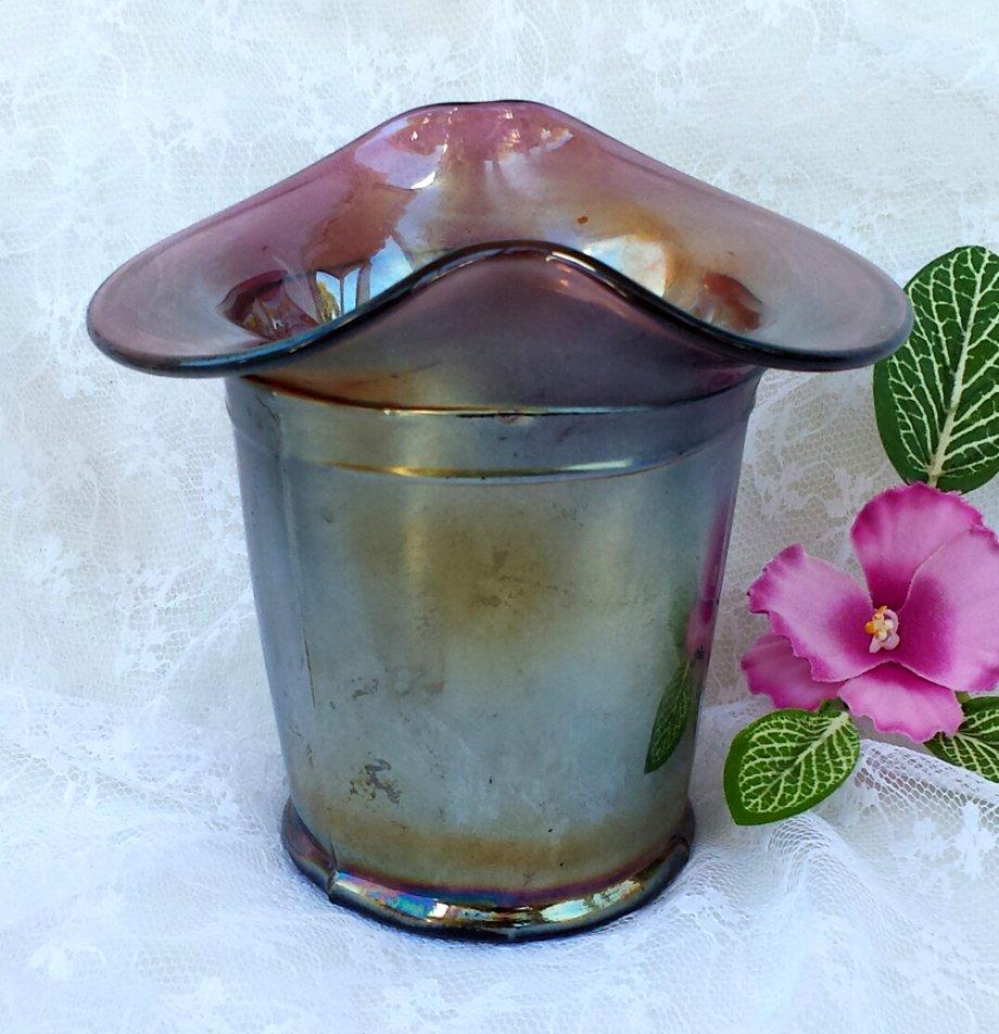 Dugan Amethyst Carnival Glass Basket / Vase Ca. 1909