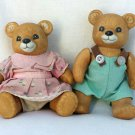 Porcelain Jointed Teddy Bears Boy and Girl HOMCO