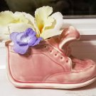 Pink Baby Shoe Planter with Tongue Out by Stanford Art Pottery