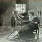 Framed Engraving Girl at Spinning Wheel with Cat - Antique 1885