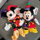 Japan Jester Mickey and Minnie Bean Bags 1998 Tokyo Disneyland Anniversary