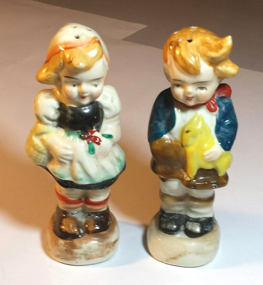 Occupied Japan Salt and Pepper Shakers Hummel-like Boy and Girl
