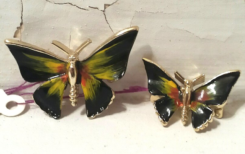 Pair Butterfly Scatter Pins Enameled Black and Yellow Hat Pins Vintage 1960s
