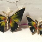 Pair Butterfly Scatter Pins Enameled Black and Yellow Hat Pins Vintage 1960s Pins Free Ship in U.S.