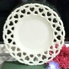 Lattice Edge Forget Me Not 7.25 in. Plate Westmoreland Milk Glass