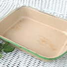 Enamelware Baking Pan Circa 1940 Cream with Green Trim Retro or Shabby Kitchen Piece