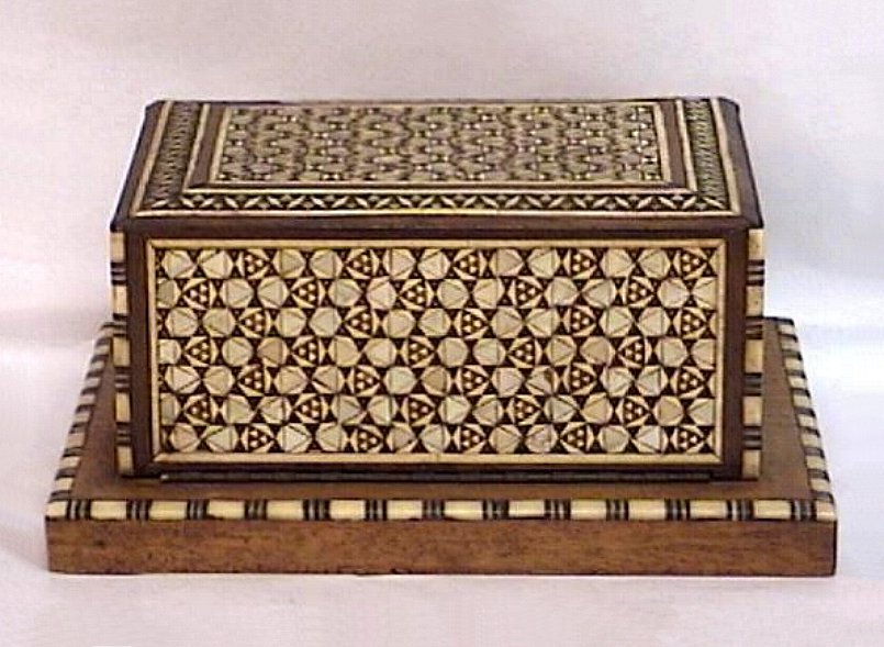 Wood Telescoping Cigarette Box with Bone and Mother of Pearl Inlay Vintage Tobacciana