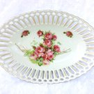 Reticulated Bowl with Roses Retsch Porcelain Co. Edwardian Antique C. 1907