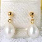 Cultured Pearl Dangle Earrings 14 KT Gold 14kt Free Ship in U.S.