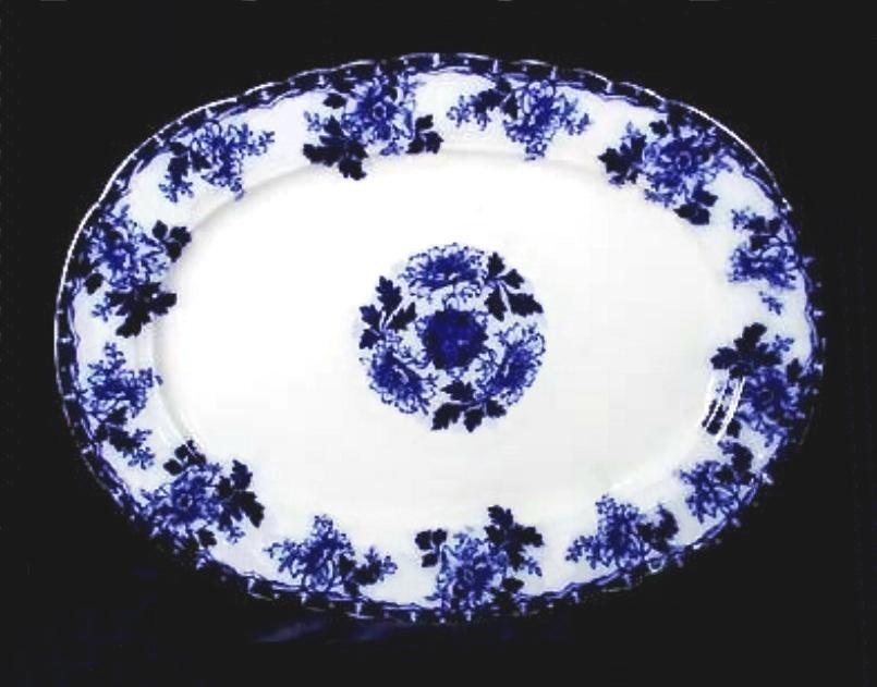 Flow Blue Oval Platter 17 Inch Luzerne Pattern Mercer Pottery N.J.