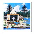 Limited Edition Lithograph Salem Shipyard by Jane Wooster-Scott Naive Folk Art