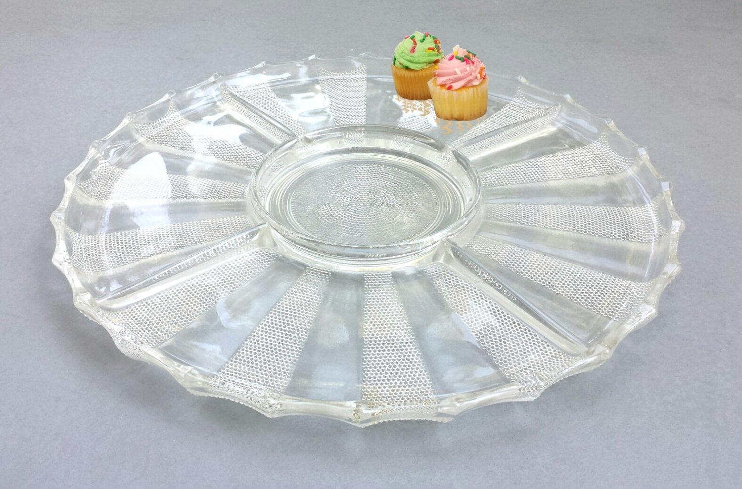Five Part Dewdrop Serving Tray by Jeannette Glass Co. 1954