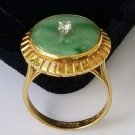 14kt Nephrite Jade and Diamond Ring 14 karat Gold - Free Ship