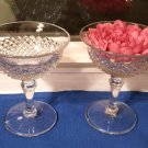Pair English Hobnail Tall Champagnes /High Sherbets in Crystal - Westmoreland Glass Co