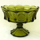 Fostoria Coin Pattern High Footed Compote Olive Green Elegant Glass 1960s