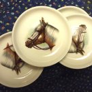 Horse Portrait Dishes Vintage Ceramic Set of Four 4-Inch Made in Japan MIJ