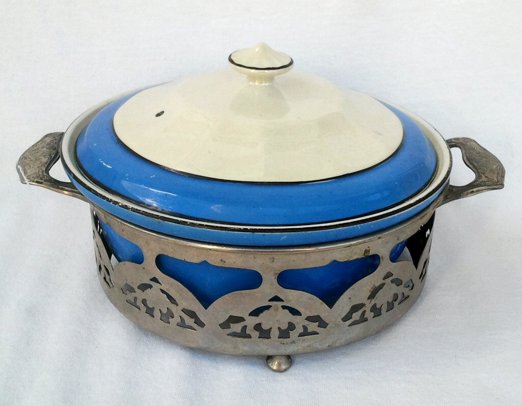 Hall China Baking Dish Blue and Pearl Luster Covered Casserole with Chrome Caddy