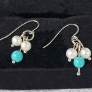 14 KT Cultured Pearl & Turquoise Dangly Earrings