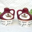 Wine Jugs Salt & Pepper with Gold Crowns - Once Was Wine, Now Full Pepper