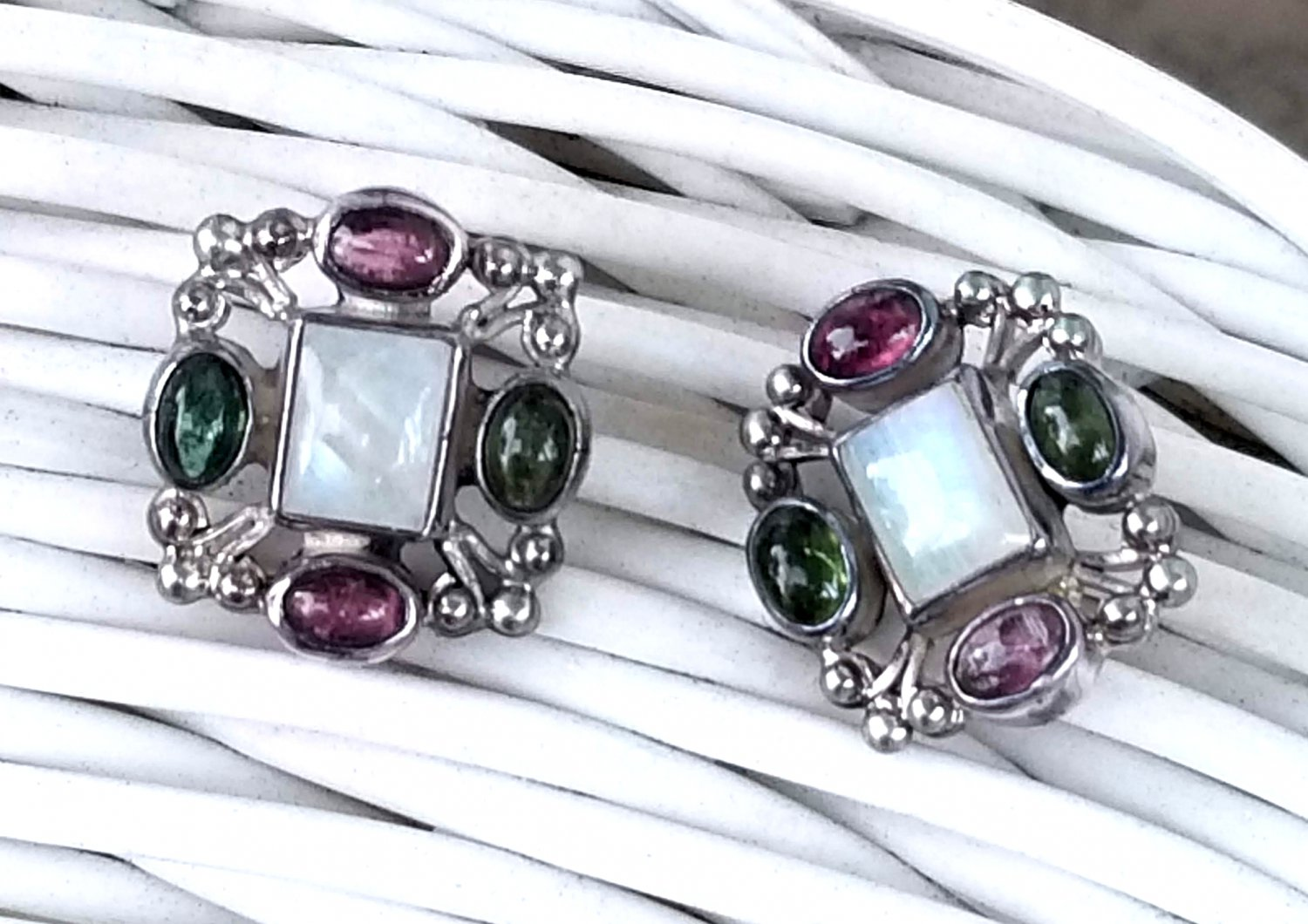 Rainbow Moonstone & Tourmaline Earrings set in Sterling NOS New - Free Ship