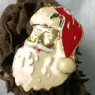 Santa Claus Pin Enameled Gold Face Mid Century Christmas Jewelry
