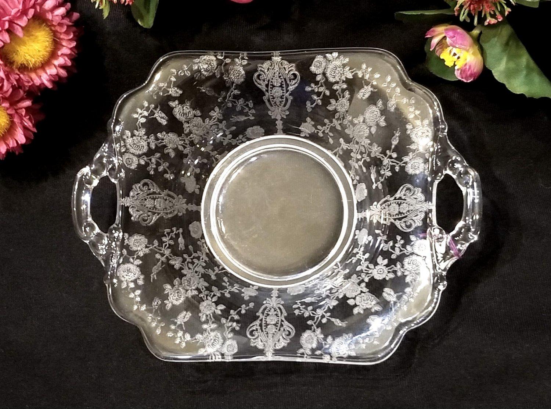 Cambridge Rose Point Two Handled Bon Bon Elegant Depression Glass 1930's