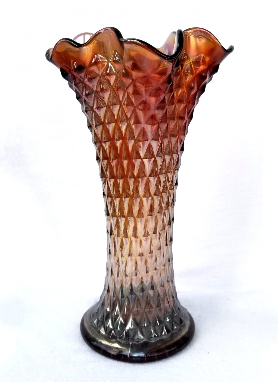 Northwood Diamond Point Swung Vase Signed Carnival Glass C. 1910