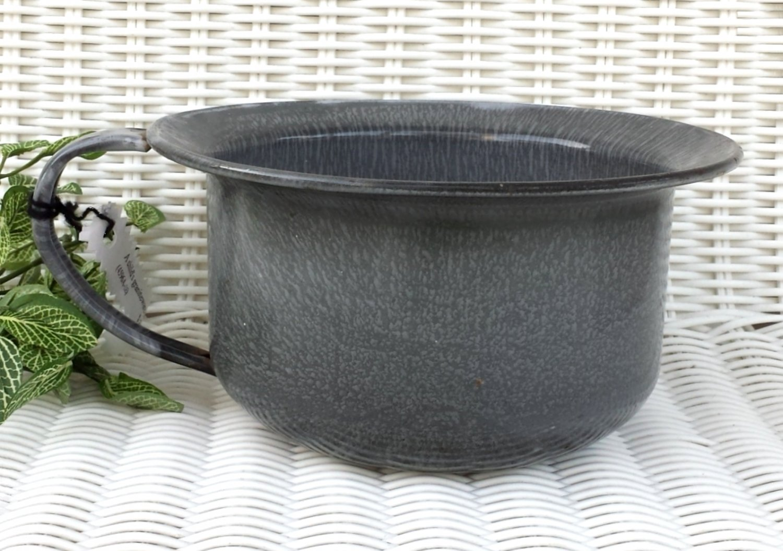 Child's Potty Graniteware Chamber Pot with Strap Handle Farm Country Decor C. 1920