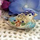 Cloisonné Bird Pendant - Blue Aqua Red - Vintage Charm