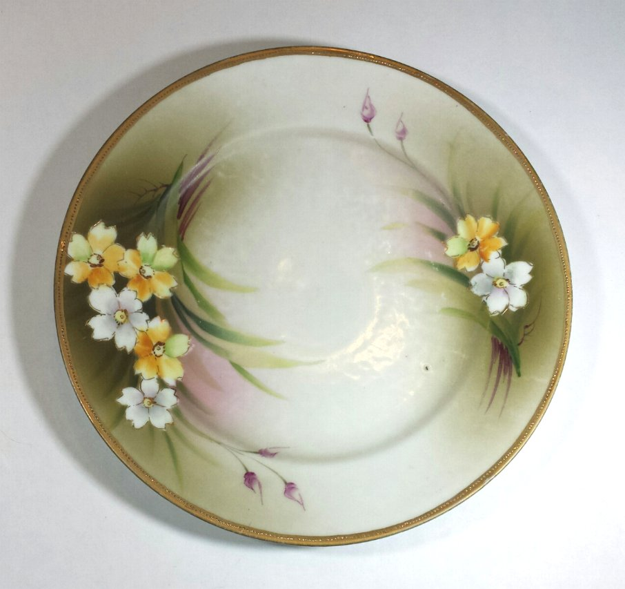 Nippon Floral Plate Hand Painted with Beaded Edge 1920s