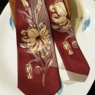 Vintage Bold Floral and Geometric Necktie Tigerlily Maroon (Wine) & Yellow 1940s-50s
