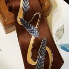 Vintage Silk Necktie with Bold Print Blue and Brown c. 1940s-1950s