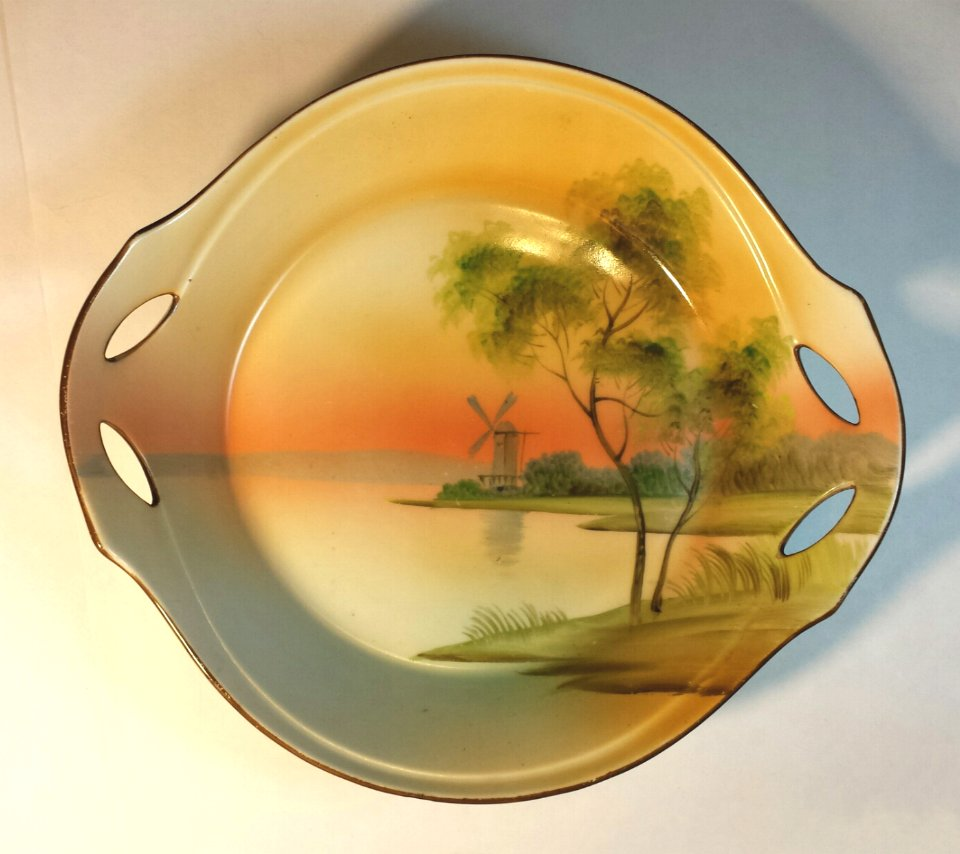 Nippon Two Handled Bowl Hand Painted Windmill on Lake C. 1910 Japan