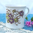 Shaving Mug Ceramic Embossed Floral with Gold Trim & Glitter C. 1900