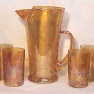 Marigold Swag 7 Piece Juice Set Iridescent Depression Glass 1930s Pitcher & 6 Tumblers