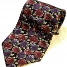 Vintage Necktie Blue & Burgundy Floral on Black - Morgan Hart 1990s