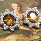Coro Rhinestone & Faux Topaz Earrings with Clip Backs Vintage Jewelry