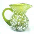 Hand Blown Spatter Glass Pitcher with Applied Handle Mid Century Art Glass