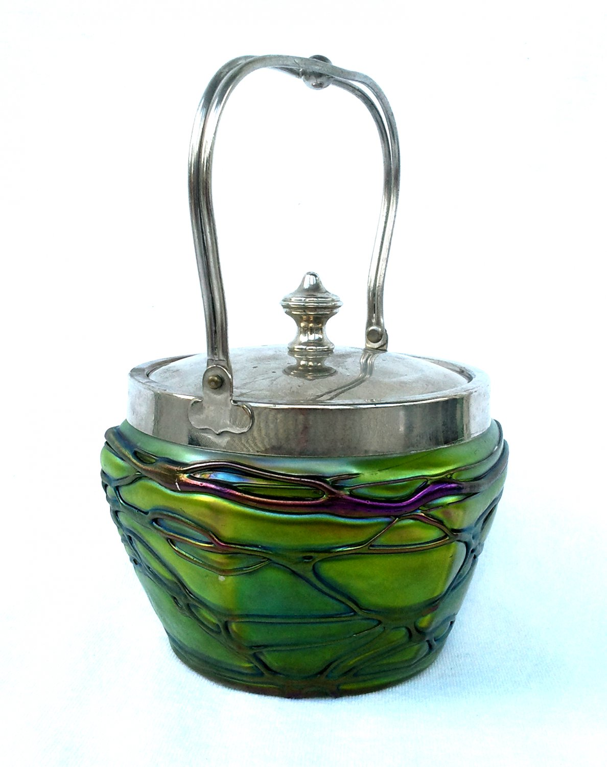 Iridescent Art Glass Biscuit Jar Green with Amethyst Threading has Silver Lid Pallme-Konig Ca. 1900