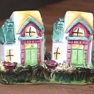 Two Houses on Floral Tray 3-Piece Salt & Pepper Shakers Vintage Made in Japan