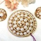 Faux Pearls Brooch & Earrings by Corocraft Vintage
